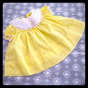 Vintage Baby Yellow Lace Smocked Easter Dress